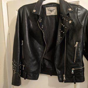 Studded Faux Leather Jacket PU